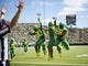 Sep 8, 2018; Eugene, OR, USA; Oregon Ducks wide receiver Johnny Johnson III (3) celebrates with wide receiver Jaylon Redd (30) and offensive lineman Penei Sewell (58) after catching a touchdown pass during the first half against the Portland State Vikings at Autzen Stadium. Mandatory Credit: Troy Wayrynen-USA TODAY Sports