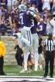 Sep 8, 2018; Manhattan, KS, USA; Kansas State Wildcats wide receiver Isaiah Zuber (7) congratulates wide receiver Dalton Schoen (83) after Schoen scores a touchdown in the third quarter against the Mississippi State Bulldogs at Bill Snyder Family Stadium. Mandatory Credit: Scott Sewell-USA TODAY Sports