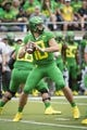 Sep 8, 2018; Eugene, OR, USA; Oregon Ducks quarterback Justin Herbert (10) throws a pass during the first half against the Portland State Vikings at Autzen Stadium. The Ducks won 62-14. Mandatory Credit: Troy Wayrynen-USA TODAY Sports