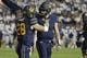 Sep 8, 2018; Provo, UT, USA; California Golden Bears running back Patrick Laird (28) and quarterback Chase Garbers (7) celebrate their first quarter touchdown against the Brigham Young Cougars at LaVell Edwards Stadium. Mandatory Credit: Jeff Swinger-USA TODAY Sports