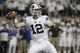 Sep 8, 2018; Provo, UT, USA; Brigham Young Cougars quarterback Tanner Mangum (12) drops back to pass in the first quarter against the California Golden Bears at LaVell Edwards Stadium. Mandatory Credit: Jeff Swinger-USA TODAY Sports