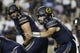 Sep 8, 2018; Provo, UT, USA; California Golden Bears quarterback Chase Garbers (7) directs his line in the first quarter against the Brigham Young Cougars at LaVell Edwards Stadium. Mandatory Credit: Jeff Swinger-USA TODAY Sports
