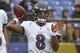 Sep 9, 2018; Baltimore, MD, USA; Baltimore Ravens quarterback Lamar Jackson (8) warms up prior to the game against the Buffalo Bills at M&T Bank Stadium. Mandatory Credit: Mitch Stringer-USA TODAY Sports
