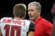 Sep 9, 2018; New Orleans, LA, USA; Tampa Bay Buccaneers head coach Dirk Koetter talks to wide receiver Adam Humphries (10) before their game against the New Orleans Saints at the Mercedes-Benz Superdome. Mandatory Credit: Chuck Cook-USA TODAY Sports
