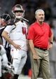Sep 9, 2018; New Orleans, LA, USA; Tampa Bay Buccaneers quarterback Ryan Griffin (4) and head coach Dirk Koetter before their game against the New Orleans Saints at the Mercedes-Benz Superdome. Mandatory Credit: Chuck Cook-USA TODAY Sports
