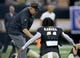 Sep 9, 2018; New Orleans, LA, USA; New Orleans Saints head coach Sean Payton talks to running back Alvin Kamara (41) before their game against the Tampa Bay Buccaneers at the Mercedes-Benz Superdome. Mandatory Credit: Chuck Cook-USA TODAY Sports