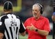 Sep 9, 2018; New Orleans, LA, USA; Tampa Bay Buccaneers head coach Dirk Koetter talks to referee David Oliver in the first quarter against the New Orleans Saints at the Mercedes-Benz Superdome. Mandatory Credit: Chuck Cook-USA TODAY Sports
