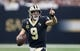 Sep 9, 2018; New Orleans, LA, USA; New Orleans Saints quarterback Drew Brees (9) gestures to a receiver in the first quarter against the Tampa Bay Buccaneers at the Mercedes-Benz Superdome. Mandatory Credit: Chuck Cook-USA TODAY Sports