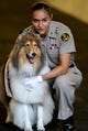Sep 8, 2018; College Station, TX, USA; Texas A&M Aggies mascot Reveille IX with her handler before the start of the gam against the Clemson Tigers at Kyle Field. Mandatory Credit: John Glaser-USA TODAY Sports