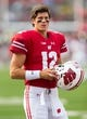 Sep 8, 2018; Madison, WI, USA; Wisconsin Badgers quarterback Alex Hornibrook (12) prior to the game against the New Mexico Lobos at Camp Randall Stadium. Mandatory Credit: Jeff Hanisch-USA TODAY Sports