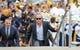 Sep 8, 2018; Morgantown, WV, USA; West Virginia Mountaineers head coach Dana Holgorsen arrives at the stadium prior to their game against the Youngstown State Penguins at Mountaineer Field at Milan Puskar Stadium. Mandatory Credit: Ben Queen-USA TODAY Sports