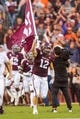 Sep 8, 2018; College Station, TX, USA; Texas A&M Aggies fullback Cullen Gillaspia (12) leads his team on to the field before the game against the Clemson Tigers at Kyle Field. Mandatory Credit: Jerome Miron-USA TODAY Sports