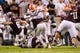Sep 8, 2018; College Station, TX, USA; Texas A&M Aggies running back Trayveon Williams (5) and Clemson Tigers defensive end Clelin Ferrell (99) in action during the game at Kyle Field. Mandatory Credit: Jerome Miron-USA TODAY Sports