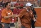 Sep 15, 2018; Austin, TX, USA; Texas Longhorns head coach Tom Herman (right) and Matthew McConaughey during the game against the Southern California Trojans  at Darrell K Royal-Texas Memorial Stadium. Mandatory Credit: Kirby Lee-USA TODAY Sports