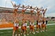 Sep 15, 2018; Austin, TX, USA; Texas Longhorns Cheerleaders perform prior to the game against the Southern California Trojans at Darrell K Royal-Texas Memorial Stadium. Mandatory Credit: Kirby Lee-USA TODAY Sports