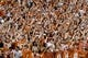 Sep 15, 2018; Austin, TX, USA; Texas Longhorns fans cheer for their team during the first half against the Southern California Trojans at Darrell K Royal-Texas Memorial Stadium. Mandatory Credit: Kirby Lee-USA TODAY Sports