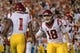 Sep 15, 2018; Austin, TX, USA; Southern California Trojans quarterback JT Daniels (18) congratulates Southern California Trojans wide receiver Velus Jones Jr. (1) during the first half against the Texas Longhorns at Darrell K Royal-Texas Memorial Stadium. Mandatory Credit: Kirby Lee-USA TODAY Sports