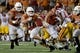 Sep 15, 2018; Austin, TX, USA; Texas Longhorns quarterback Sam Ehlinger (11) rushes against the Southern California Trojans during the first half at Darrell K Royal-Texas Memorial Stadium. Mandatory Credit: Kirby Lee-USA TODAY Sports