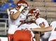 Sep 15, 2018; Pasadena, CA, USA; Fresno State Bulldogs tight end Kyle Riddering (89) celebrates with offensive lineman Nick Abbs (77) and offensive lineman Christian Cronk (58) after scoring a first quarter touchdown against the UCLA Bruins at the Rose Bowl. Mandatory Credit: Robert Hanashiro-USA TODAY Sports