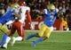 Sep 15, 2018; Pasadena, CA, USA; UCLA Bruins quarterback Dorian Thompson-Robinson (7) scrambles away from Fresno State Bulldogs defensive back Mike Bell (4) during the first quarter at Rose Bowl. Mandatory Credit: Robert Hanashiro-USA TODAY Sports