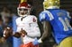 Sep 15, 2018; Pasadena, CA, USA; Fresno State Bulldogs quarterback Marcus McMaryion (6) looks for an open receiver past UCLA Bruins linebacker Krys Barnes (14) during the first quarter at Rose Bowl. Mandatory Credit: Robert Hanashiro-USA TODAY Sports