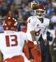 Sep 15, 2018; Pasadena, CA, USA; Fresno State Bulldogs quarterback Marcus McMaryion (6) throws a pass to Fresno State Bulldogs wide receiver Justin Allen (13) during the first quarter at Rose Bowl. Mandatory Credit: Robert Hanashiro-USA TODAY Sports