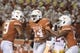 Sep 15, 2018; Austin, TX, USA; Texas Longhorns wide receiver Joshua Moore (14) celebrates scoring a touchdown against the Southern California Trojans with teammates during the second half at Darrell K Royal-Texas Memorial Stadium. Mandatory Credit: Kirby Lee-USA TODAY Sports
