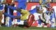 Sep 15, 2018; Pasadena, CA, USA; Fresno State Bulldogs running back Jordan Mims (22) dives for more yardage dragging UCLA Bruins defensive back Quentin Lake (37) with him during the first quarter at Rose Bowl. Mandatory Credit: Robert Hanashiro-USA TODAY Sports