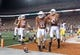 Sep 15, 2018; Austin, TX, USA; Texas Longhorns quarterback Sam Ehlinger (11) celebrates with wide receiver Collin Johnson (9) after scoring on a 4-yard touchdown run in the third quarter against the Southern California Trojans at Darrell K Royal-Texas Memorial Stadium. Texas defeated USC 37-14. Mandatory Credit: Kirby Lee-USA TODAY Sports