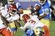 Sep 15, 2018; Pasadena, CA, USA; Fresno State Bulldogs wide receiver KeeSean Johnson (3) fumbles a first half punt against UCLA Bruins at Rose Bowl. Mandatory Credit: Robert Hanashiro-USA TODAY Sports