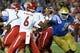 Sep 15, 2018; Pasadena, CA, USA; Fresno State Bulldogs quarterback Marcus McMaryion (6) gets off a pass under pressure by UCLA Bruins defensive lineman Otito Ogbonnia (91) during the third quarter at Rose Bowl. Mandatory Credit: Robert Hanashiro-USA TODAY Sports