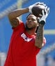 Sep 16, 2018; Orchard Park, NY, USA; Buffalo Bills wide receiver Kelvin Benjamin (13) catches a pass before a game against the Los Angeles Chargers at New Era Field. Mandatory Credit: Timothy T. Ludwig-USA TODAY Sports