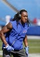 Sep 16, 2018; Orchard Park, NY, USA; Buffalo Bills linebacker Tremaine Edmunds (49) before a game against the Los Angeles Chargers at New Era Field. Mandatory Credit: Timothy T. Ludwig-USA TODAY Sports