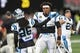 Sep 16, 2018; Atlanta, GA, USA; Carolina Panthers quarterback Cam Newton (1) shown on the field during warm up prior to the game against the Atlanta Falcons at Mercedes-Benz Stadium. Mandatory Credit: Dale Zanine-USA TODAY Sports