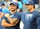 Sep 16, 2018; Nashville, TN, USA; Tennessee Titans offensive tackle Jack Conklin (left) and Tennessee Titans offensive tackle Taylor Lewan (right) look on during warmups before the game against the Houston Texans at Nissan Stadium. Mandatory Credit: Christopher Hanewinckel-USA TODAY Sports