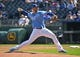 Sep 16, 2018; Kansas City, MO, USA; Kansas City Royals starting pitcher Jakob Junis (65) delivers a pitch during the first inning against the Minnesota Twins at Kauffman Stadium. Mandatory Credit: Peter G. Aiken
