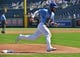 Sep 16, 2018; Kansas City, MO, USA; Kansas City Royals left fielder Alex Gordon (4) rounds third base and scores a run during the first inning against the Minnesota Twins at Kauffman Stadium. Mandatory Credit: Peter G. Aiken