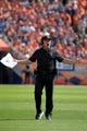 Sep 16, 2018; Denver, CO, USA; Oakland Raiders head coach Jon Gruden reacts on the field against the Denver Broncos in the third quarter at Broncos Stadium at Mile High. Mandatory Credit: Kirby Lee-USA TODAY Sports
