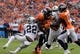 Sep 16, 2018; Denver, CO, USA; Denver Broncos wide receiver Demaryius Thomas (88) is tackled by Oakland Raiders defensive back Rashaan Melvin (22) in the third quarter at Broncos Stadium at Mile High. Mandatory Credit: Kirby Lee-USA TODAY Sports
