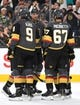 Sep 16, 2018; Las Vegas, NV, USA; Vegas Golden Knights players celebrate a goal scored by Vegas Golden Knights defenseman Nicolas Hague (14) during the second period against the Arizona Coyotes at T-Mobile Arena. Mandatory Credit: Stephen R. Sylvanie-USA TODAY Sports