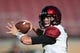 August 31, 2018; Stanford, CA, USA; San Diego State Aztecs quarterback Ryan Agnew (9) warms up before the game against the Stanford Cardinal at Stanford Stadium. Mandatory Credit: Kyle Terada-USA TODAY Sports