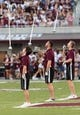 Sep 15, 2018; Starkville, MS, USA; The Mississippi State Bulldogs band takes the field before the first half at Davis Wade Stadium. Mandatory Credit: Vasha Hunt-USA TODAY Sports