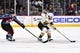 Sep 18, 2018; Denver, CO, USA; Colorado Avalanche center Nathan MacKinnon (29) chases down Vegas Golden Knights defenseman Jon Merrill (15) in the first period during a preseason game at the Pepsi Center. Mandatory Credit: Ron Chenoy-USA TODAY Sports