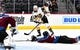 Sep 18, 2018; Denver, CO, USA; Colorado Avalanche defenseman Ryan Graves (27) dives to stop a shot attempt by Vegas Golden Knights center Brooks Macek (10) in the first period during a preseason game at the Pepsi Center. Mandatory Credit: Ron Chenoy-USA TODAY Sports
