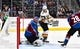 Sep 18, 2018; Denver, CO, USA; Vegas Golden Knights center Ryan Carpenter (40) attempts to score on Colorado Avalanche goaltender Semyon Varlamov (1) in the first period during a preseason game at the Pepsi Center. Mandatory Credit: Ron Chenoy-USA TODAY Sports