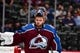 Sep 18, 2018; Denver, CO, USA; Colorado Avalanche goaltender Semyon Varlamov (1) during the first period during a preseason game against the Vegas Golden Knights at the Pepsi Center. Mandatory Credit: Ron Chenoy-USA TODAY Sports