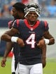 Sep 16, 2018; Nashville, TN, USA; Houston Texans quarterback Deshaun Watson (4) walks off the field before the game against the Tennessee Titans at Nissan Stadium. Mandatory Credit: Christopher Hanewinckel-USA TODAY Sports