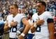 Sep 16, 2018; Nashville, TN, USA; Tennessee Titans quarterback Marcus Mariota (8) and Tennessee Titans long snapper Beau Brinkley (48) during the national anthem before the game against the Houston Texans at Nissan Stadium. Mandatory Credit: Christopher Hanewinckel-USA TODAY Sports