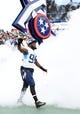 Sep 16, 2018; Nashville, TN, USA; Tennessee Titans linebacker Brian Orakpo (98) takes the field during player introductions before the game against the Houston Texans at Nissan Stadium. Mandatory Credit: Christopher Hanewinckel-USA TODAY Sports