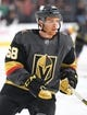 Sep 16, 2018; Las Vegas, NV, USA; Vegas Golden Knights center TJ Tynan (68) warms up before a pre-season game against the Arizona Coyotes at T-Mobile Arena. Mandatory Credit: Stephen R. Sylvanie-USA TODAY Sports
